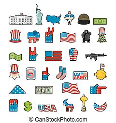 America icon set. National sign of USA. American flag and Statue of Liberty. White House and  dollar. Map of United States. Uncle Sam and moon. Elephant and donkey. Eagle and baribal bearl. traditional Patriotic symbol US