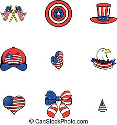 America icons set, cartoon style
