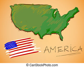 America Map and National Flag