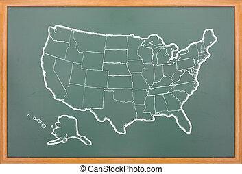 America map draw on grunge blackboard