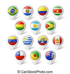 america., mappa, flags., puntatori