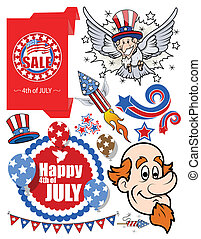 America - Patriotic Vector set - Drawing Art of Cartoon...
