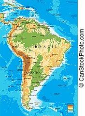 america-physical, 地図, 南