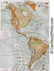 America physical map with Lesser Antilles insert map. By...