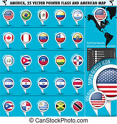 America Pointer Flag Icons with american Map set1