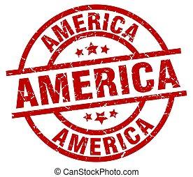 America red round grunge stamp