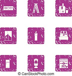 America rest day icons set, grunge style - America rest day ...
