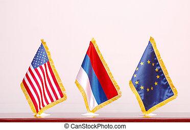 America, Russia and EU flag