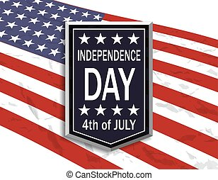 America s Independence Day. A sign with an inscription on the background of a stylized flag. illustration