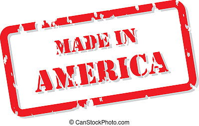 Red rubber stamp vector of Made In America