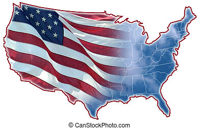 America - Graphic Designed of the United States map, montage...