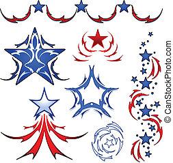 America tattoo designs - Set of patriotic american stars...