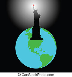 America - The statue shines by a torch all planet