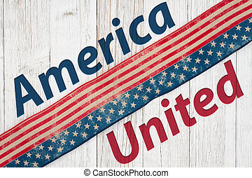 America United type message with retro USA stars and stripes burlap ribbon