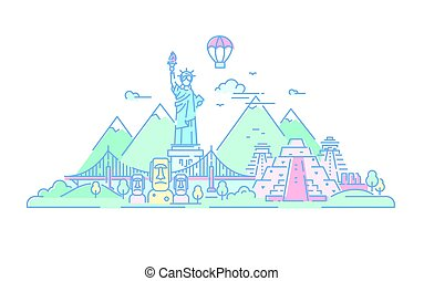 America - vector line travel illustration