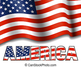 AMERICA with American Flag