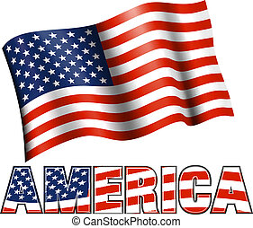 AMERICA with American Flag Waving