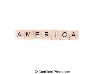 AMERICA word on square tile concept isolated on white background