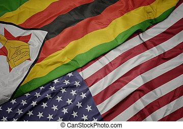 america, zimbabwe., nazionale, colorito, bandierina ondeggiamento, stati uniti