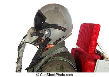 americain, aeronave, tripulação