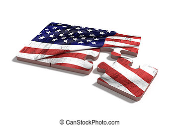 americal, 旗, 上に, 困惑, セット