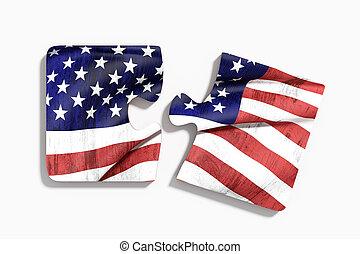 americal, bandera, en, rompecabezas, conjunto