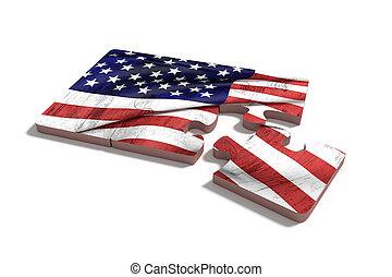 americal, vlag, op, raadsel, set