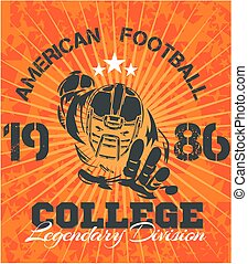 american 축구, -, 벡터, 삽화, 치고는, 티셔츠