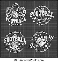 american 축구, 포도 수확, 벡터, 상표, 치고는, 포스터, 전단, 또는, 티셔츠, print.,...