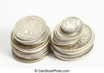 american ancien silver coins on the white background
