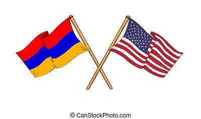 American and Armenian alliance and friendship - cartoon-like...