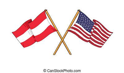 American and Austrian alliance and friendship - cartoon-like...