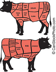 cuts of beef - american and british cuts of beef meat