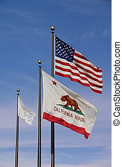 American and California Flags