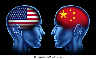 U.S.A and China trade relations symbol represented by two faces head to head in cooperation and competition
