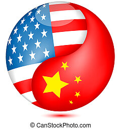 American and Chinese flag in the globe