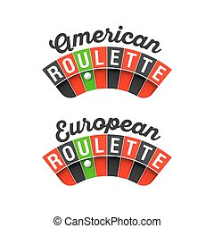 American and European Roulette signs