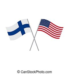 American and Finnish flags vector isolated on white background