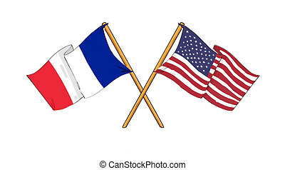 American and french alliance and friendship - cartoon-like...