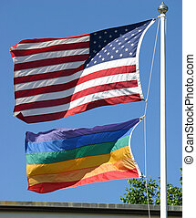American and Gay Pride Flags - An American and a gay pride...