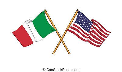 American and italian alliance and friendship - cartoon-like...
