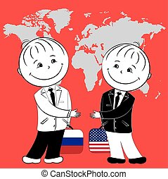 American and Russian want to shake hands on the world map background