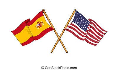 American and spanish alliance and friendship - cartoon-like...