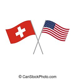 American and Switzerland flags vector isolated on white background