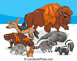 American animals group cartoon illustration - Cartoon...