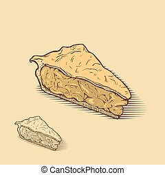 american apple pie, hand drawn illustration