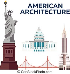 American Architecture. Modern flat design. Vector illustration.