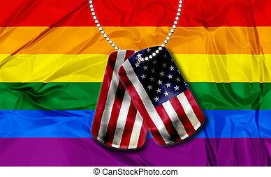 dogtags with rainbow flag