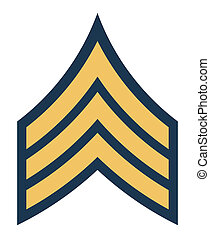American army sergeant insignia rank badge isolated on white...