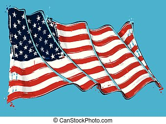 Vector grange Illustration of an American waving Flag. All elements neatly on well defined layers